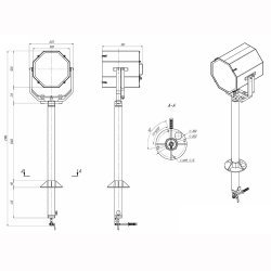 Прожектор с дистанционным ручным управлением галогенный МСПЛ-РВ-500-ГЛ