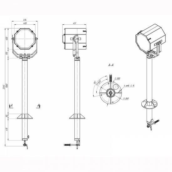 Прожектор с дистанционным ручным управлением галогенный МСПЛ-РВ-400-ГЛ